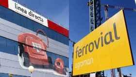 Un montaje con rótulos de Línea Directa y Ferrovial.