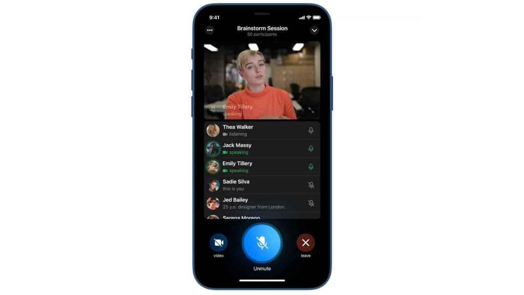 Videollamadas en grupo de Telegram