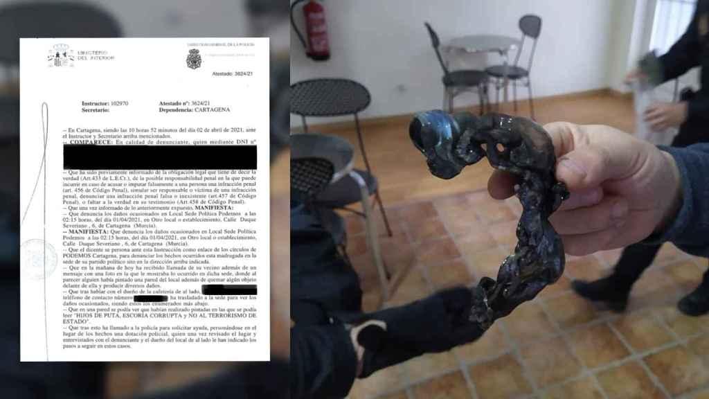 La denuncia del ataque presentada en sede policial y los restos del cóctel molotov.