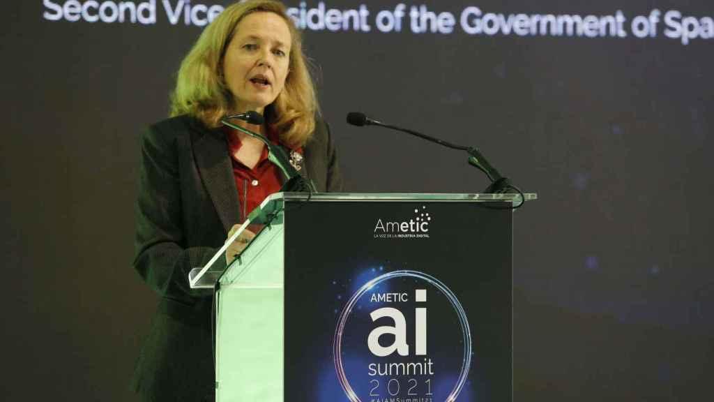 Nadia Calviño en el evento sobre IA organizado por Ametic