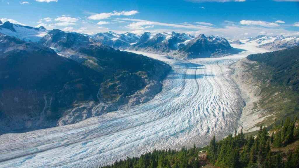 El glaciar Klinaklini es el mayor glaciar del oeste de Canadá (casi 500 km²).