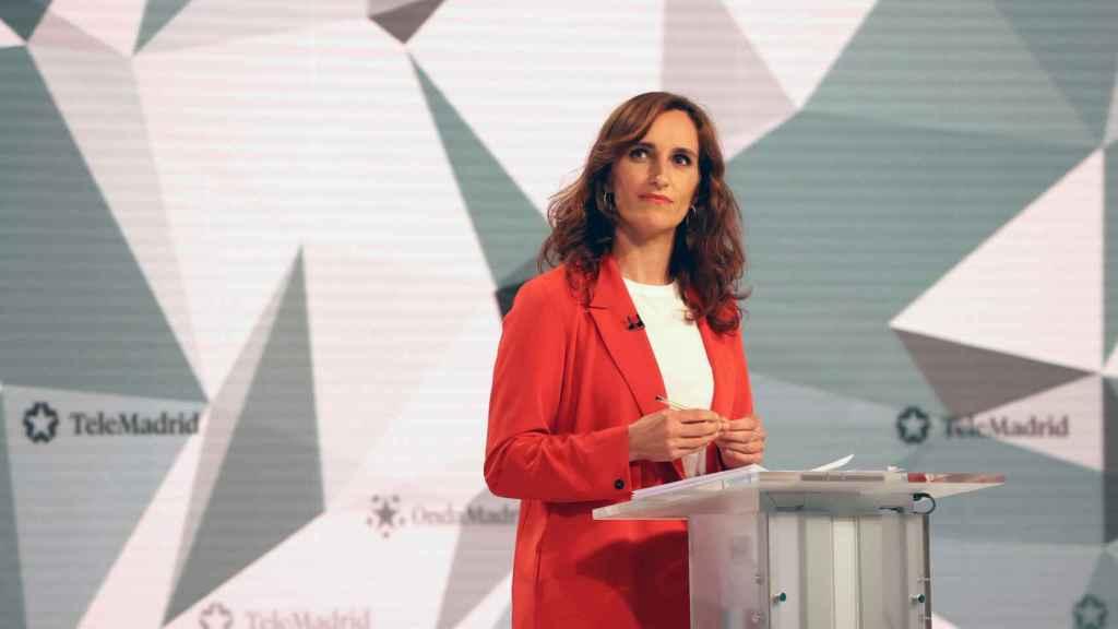 Mónica García, durante el debate electoral.