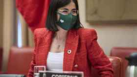 La ministra de Sanidad, Carolina Darias, este jueves en el Congreso.