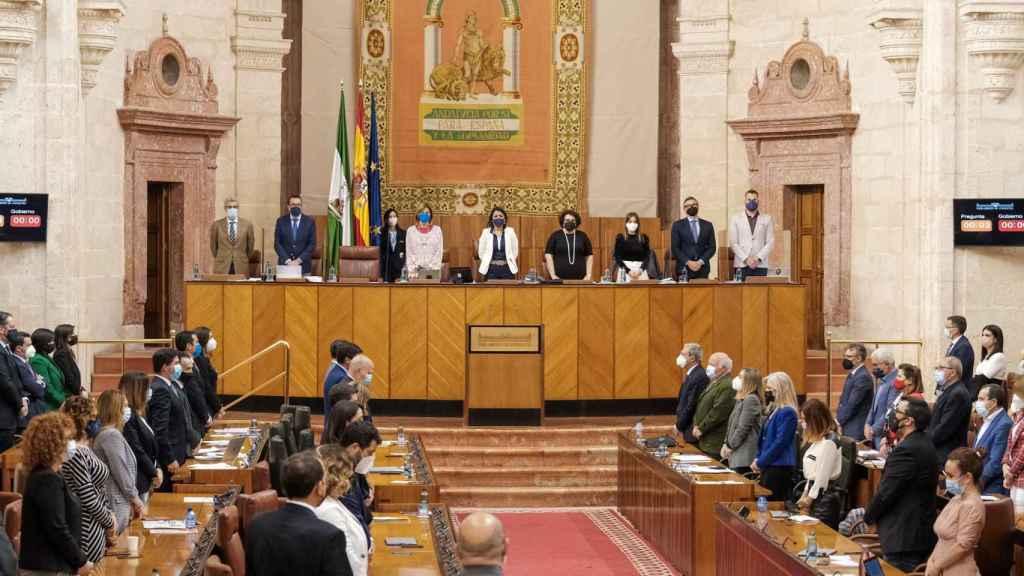 El pleno del Parlamento andaluz en la última sesión de abril.