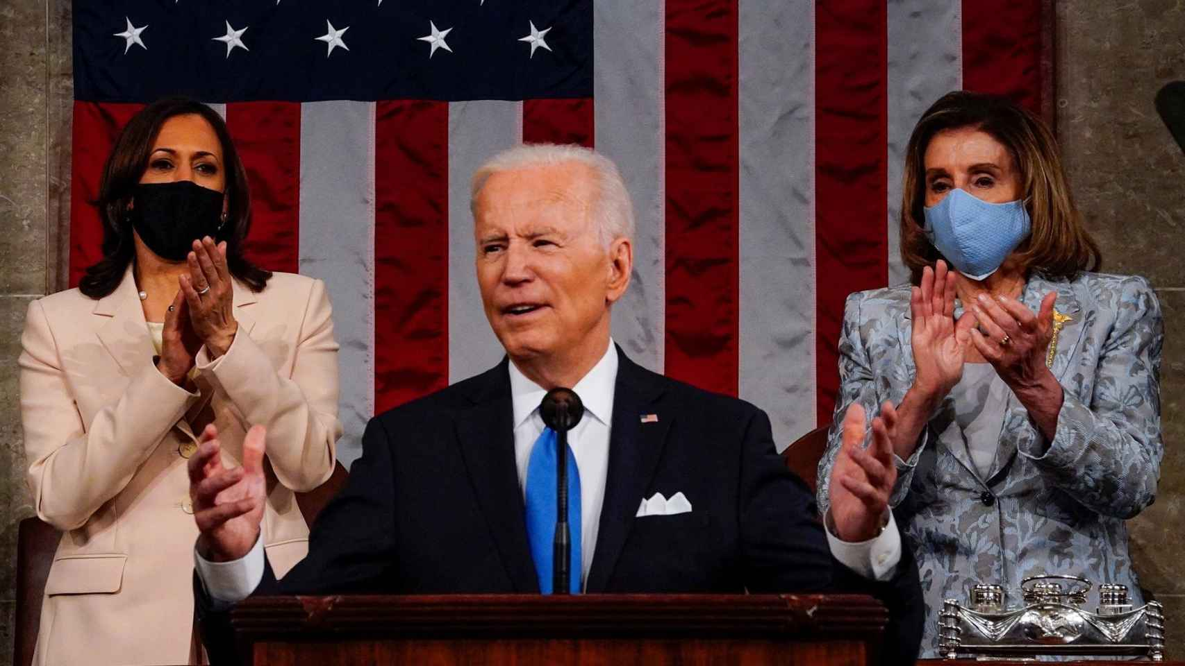 Kamala Harris y Nancy Pelosi, durante el discurso de Biden.