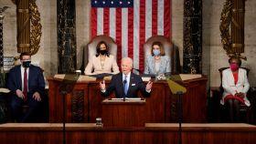 Joe Biden durante su primer discurso ante las dos cámaras del Congreso, cuando cumple 100 días en la Casa Blanca.