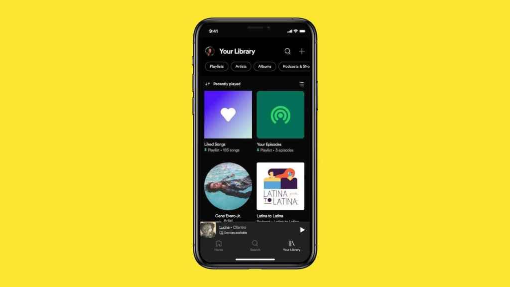 Nueva vista de biblioteca de Spotify