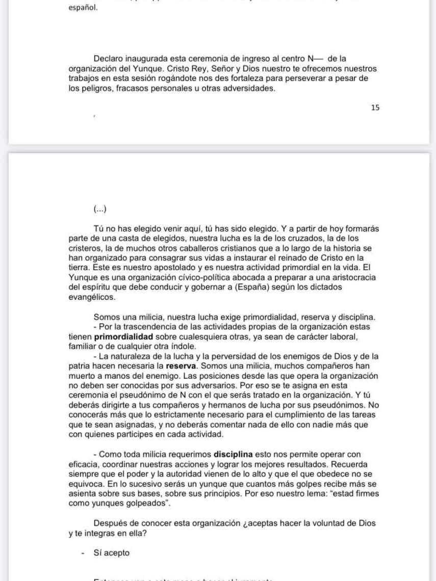 Juramento para entrar en El Yunque