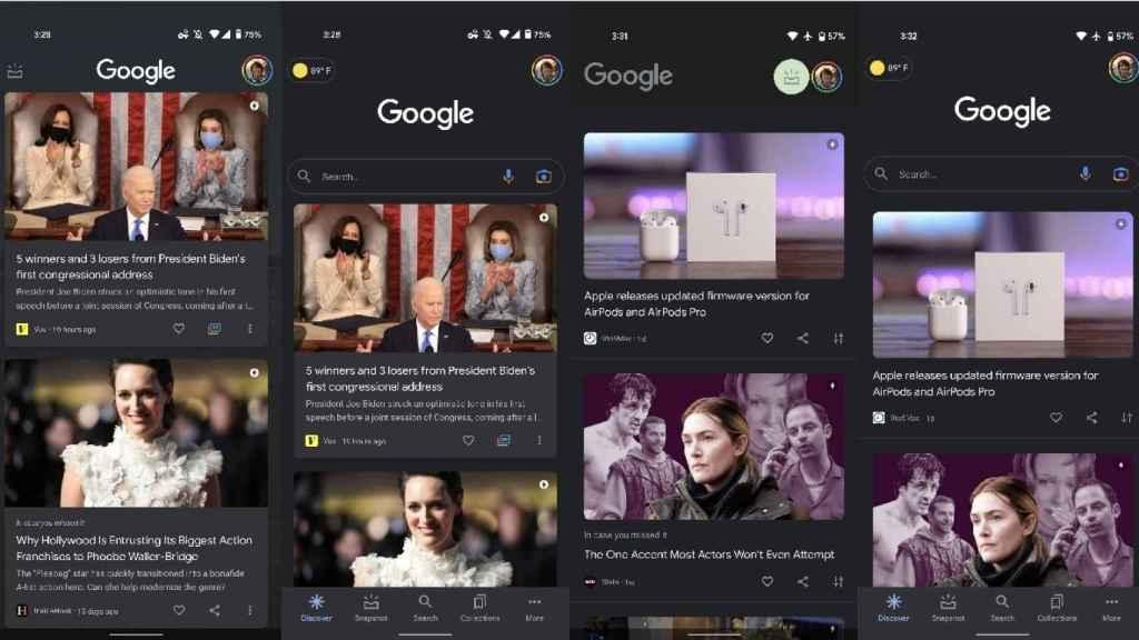 Google Discover diseño antiguo y nuevo