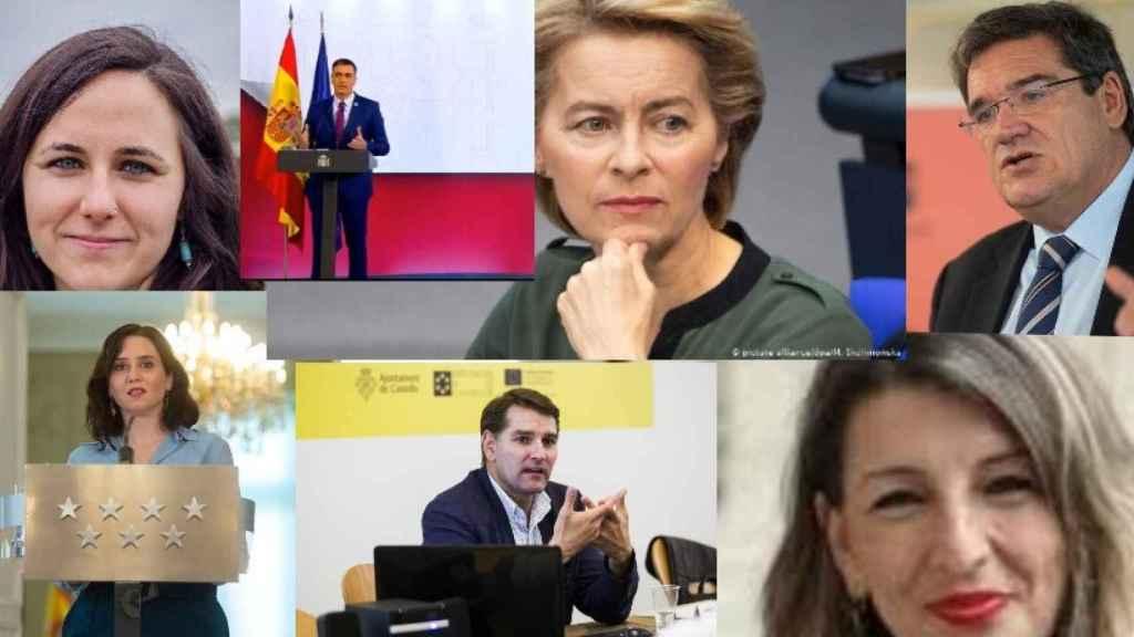 Ione Belarra, Pedro Sánchez, Urusla von der Leyen, José Luis Escrivá, Isabel Díaz Ayuso, Manuel de la Rocha y Yolanda Díaz.