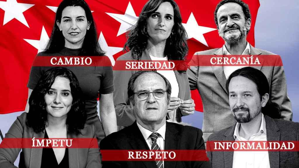 Los candidatos a la Comunidad de Madrid, en un fotomontaje de JALEOS.