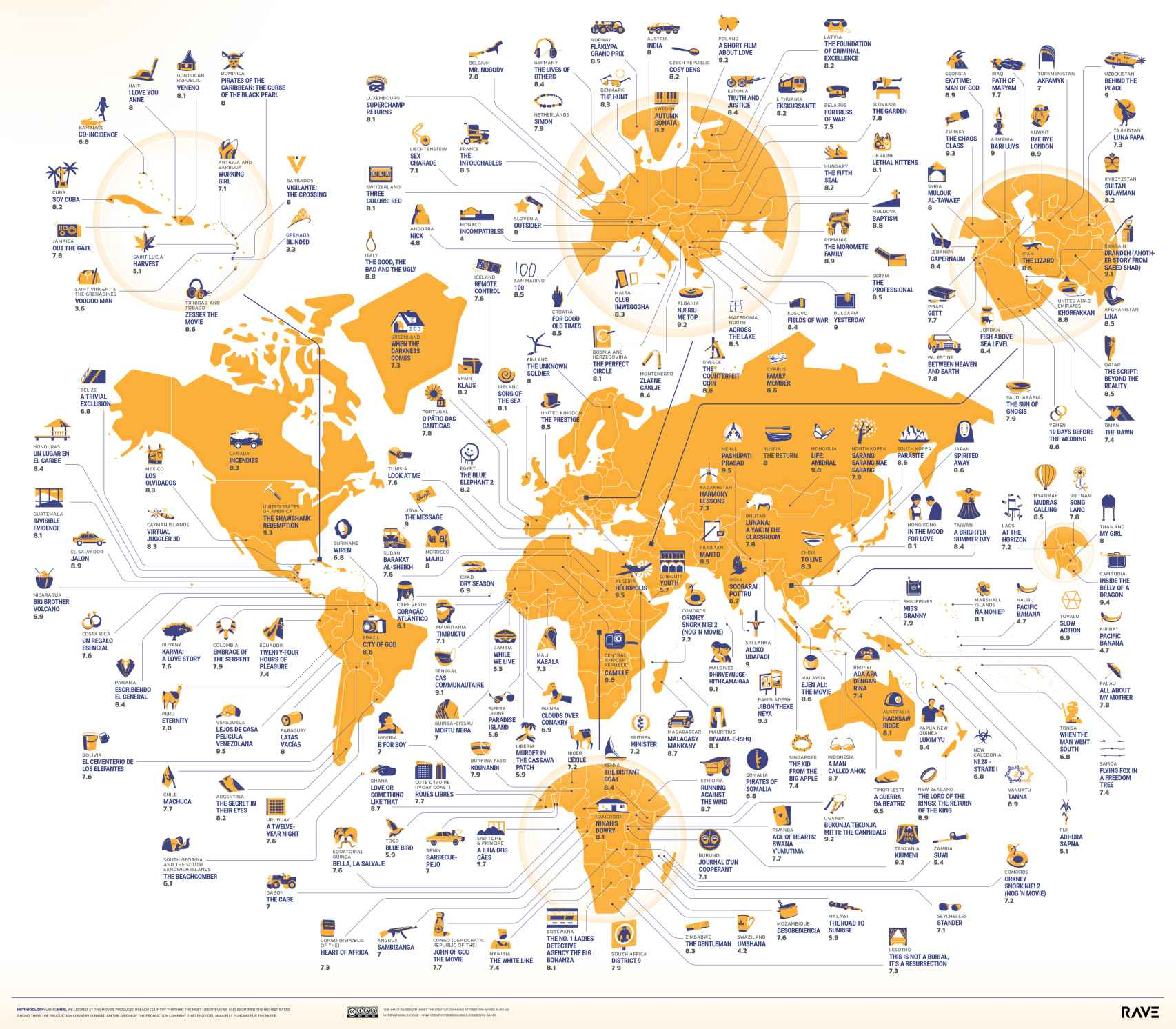 Mapa de todo el mundo con las películas más votadas.