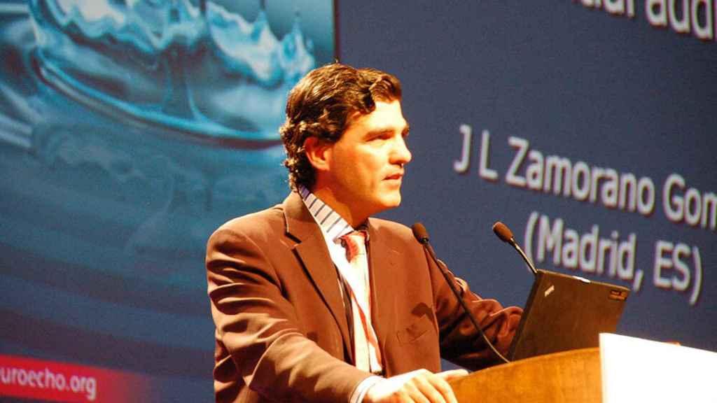 José Luis Zamorano dando la conferencia inaugural de EuroEcho, la reunión anual de la Sociedad Europea de Cardiología.
