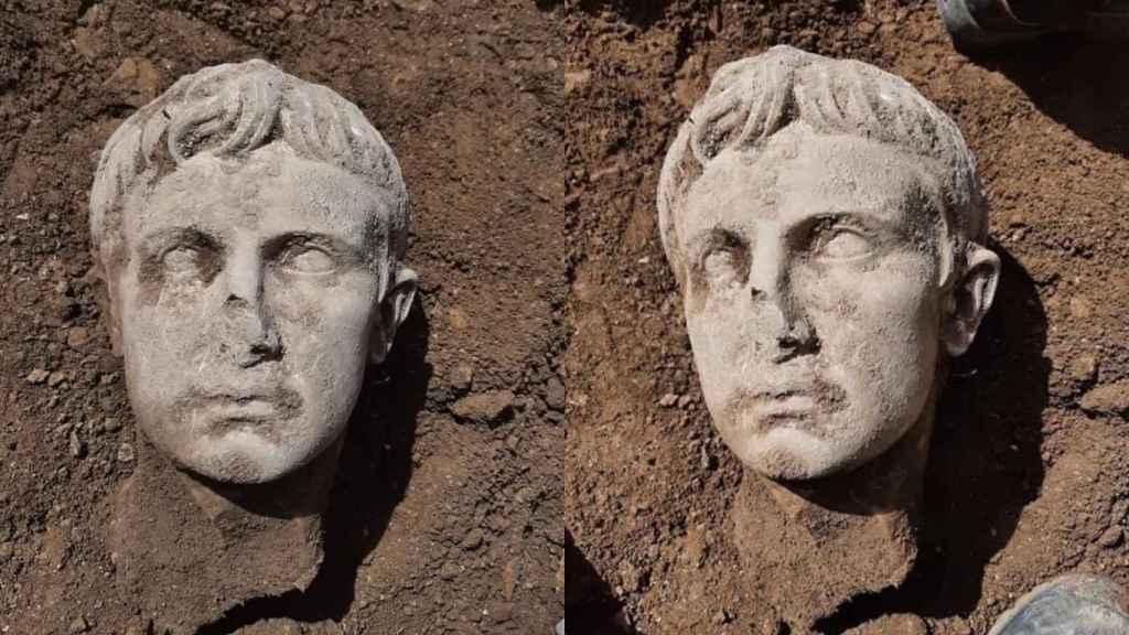 Cabeza del emperador Augusto encontrada en la localidad de Isernia (Italia).