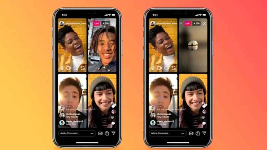 Interfaz de las salas de vídeo en directo de Instagram