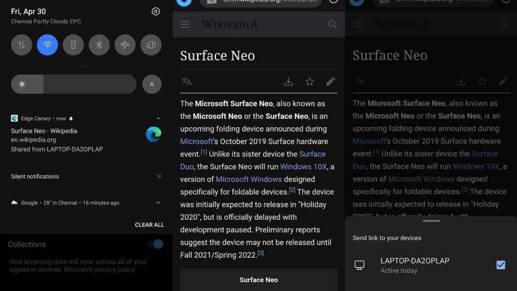 Microsoft Edge en Android