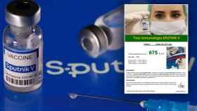 Imagen de una vacuna Sutnik y de la oferta para viajar a Rusia.