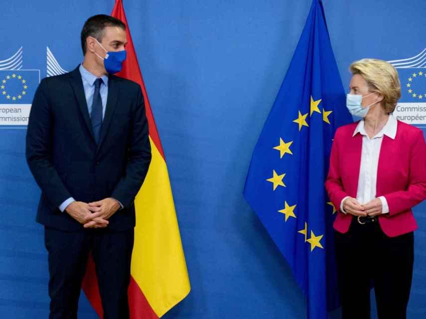 Pedro Sánchez  y Ursula von der Leyen, durante su última reunión en Bruselas en septiembre de 2020.