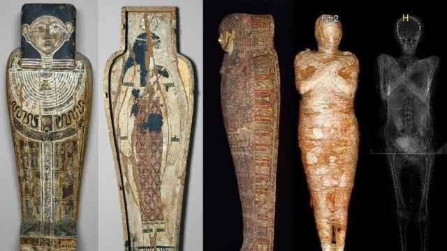 El sarcófago y la momia de la mujer embarazada.