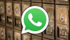 Logo de WhatsApp sobre cajas fuertes de un banco.