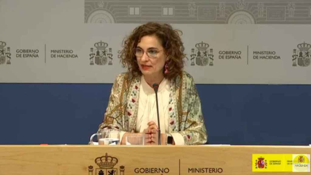 María Jesús Montero, en rueda de prensa.