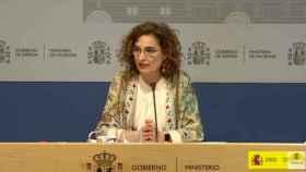 María Jesús Montero en la rueda de prensa de este viernes.