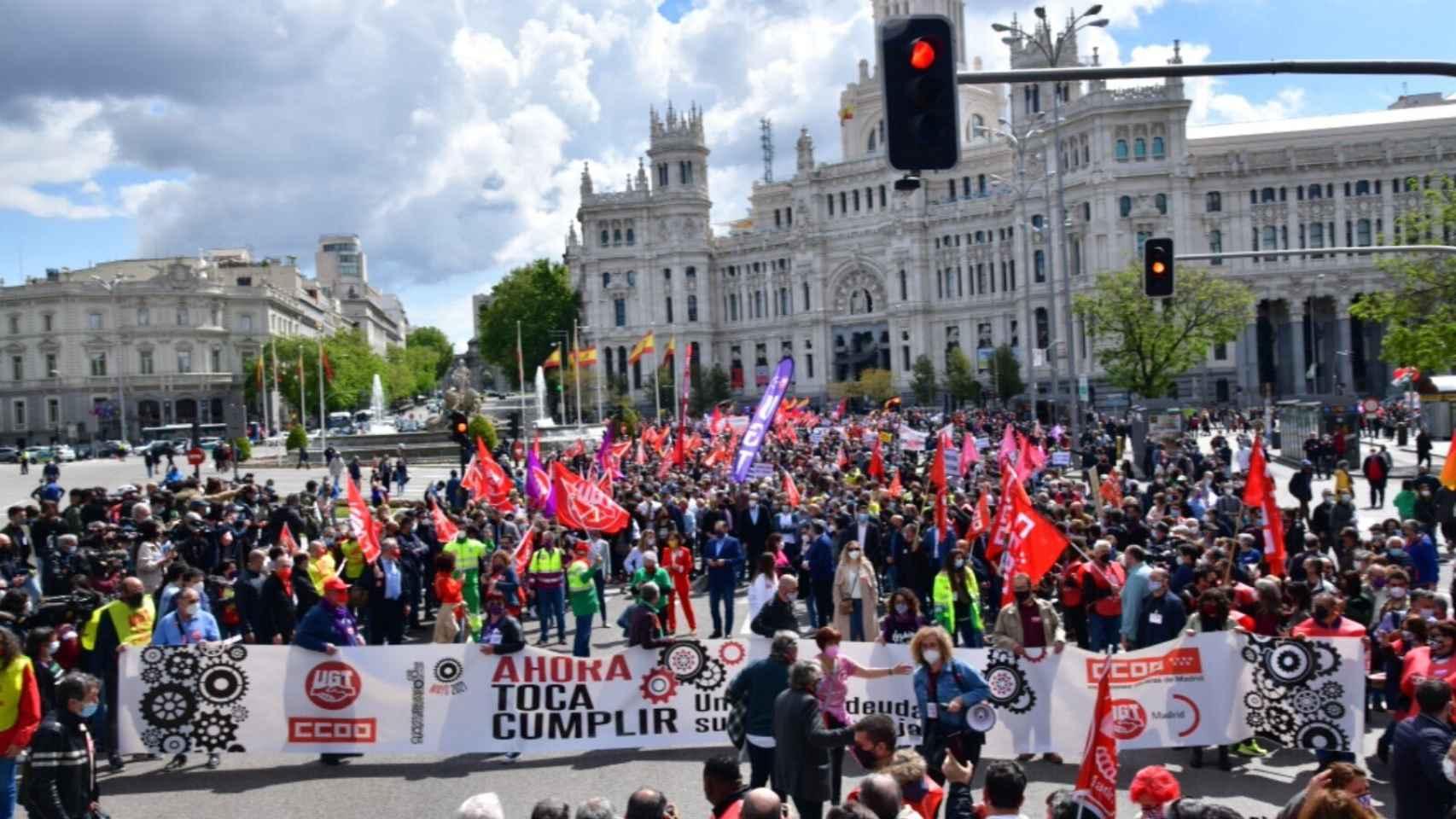 Imagen de UGT de la mañana del Primero de Mayo en Valencia.