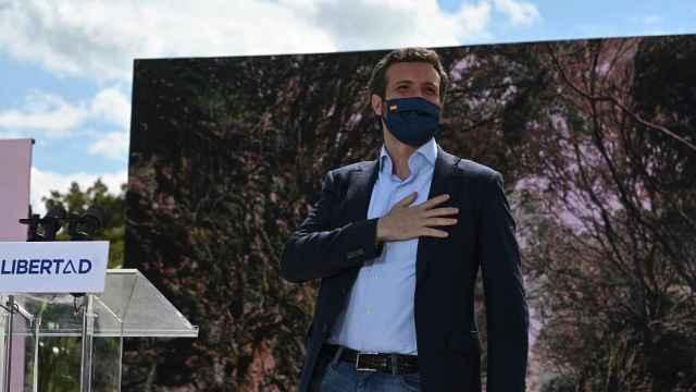 Pablo Casado, presidente del PP, en un acto de la campaña madrileña del 4-M.