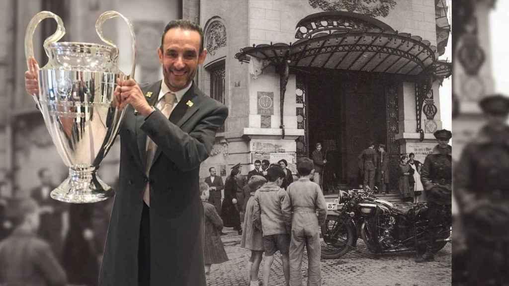 Ernesto Pastor, conserje del Palace desde 1979, posa con la Champions