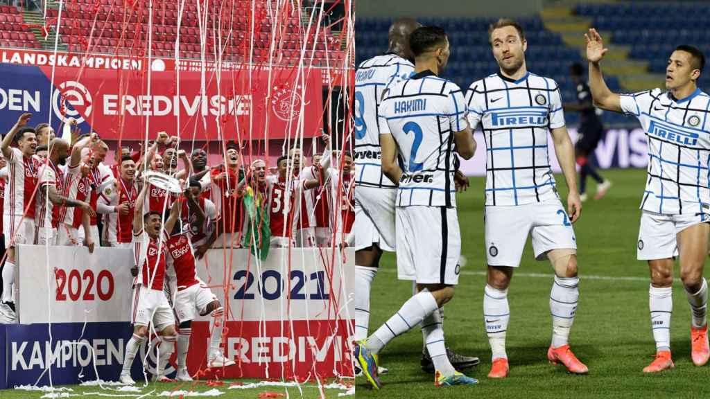 El Ajax celebra la Eredivisie (izquierda) y el Inter un gol en la Serie A (derecha)