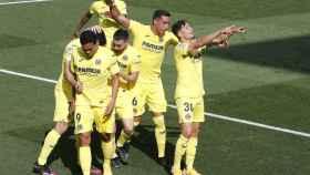 El Villarreal celebra el gol de Yeremi Pino