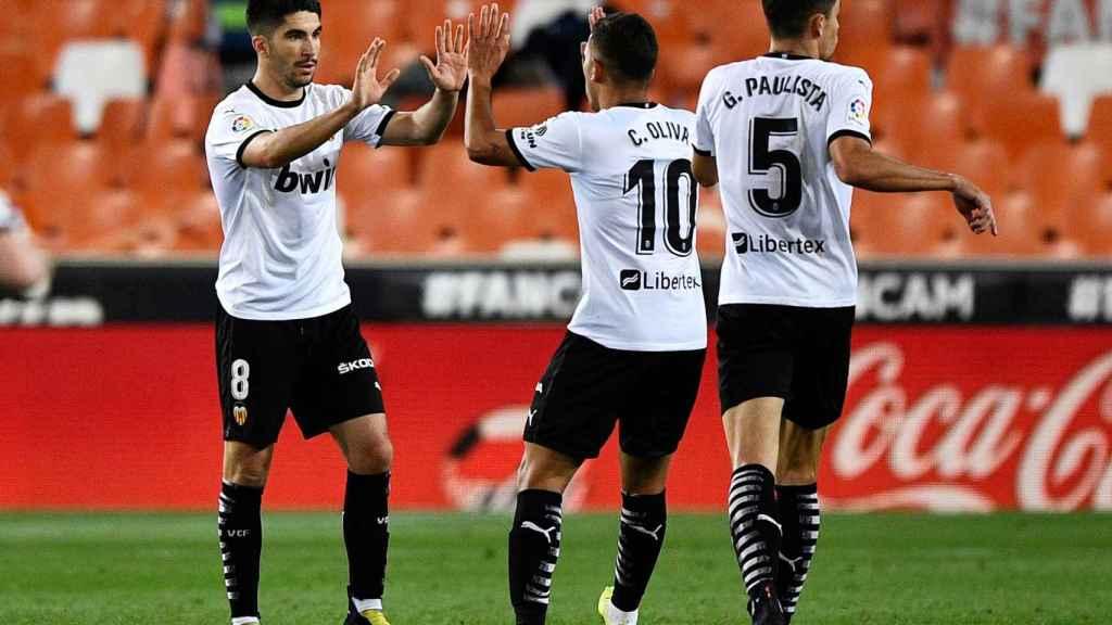 Carlos Soler celebrando el gol del Valencia al Barça
