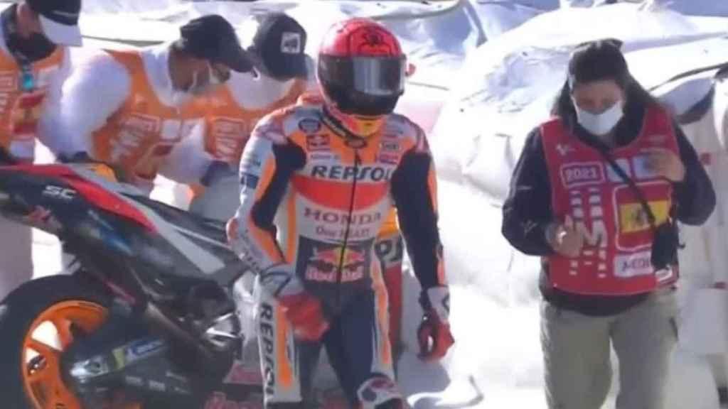 Marc Márquez tras su segunda caída en Jerez 2021
