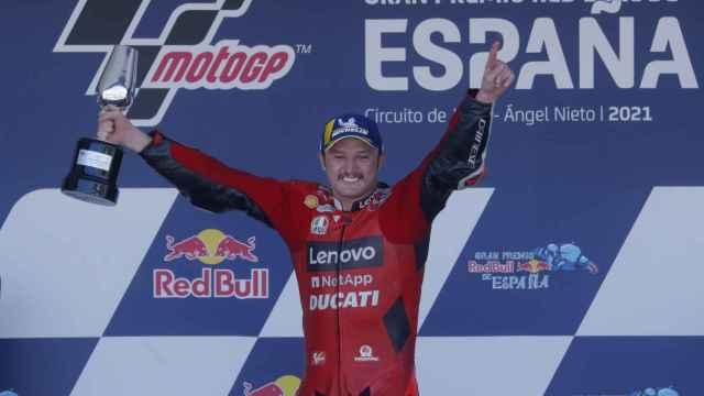 Jack Miller celebra su victoria en el Gran Premio de España, en el circuito de Jerez-Ángel Nieto.
