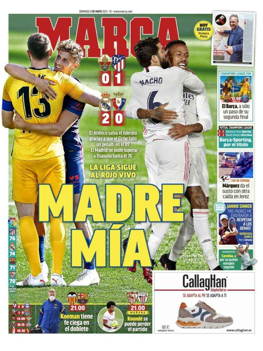 La portada del diario MARCA (02/05/2021)