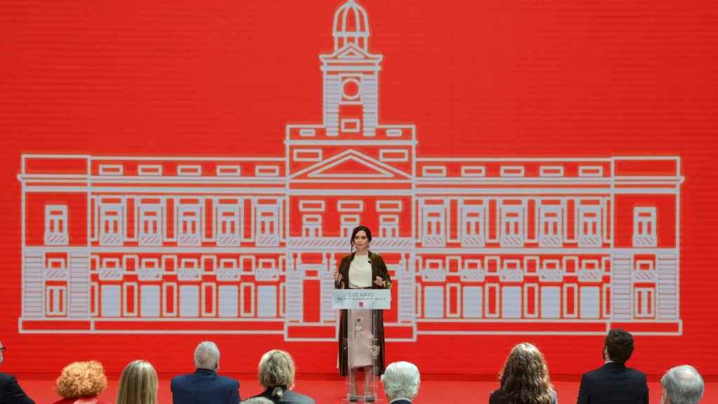 Isabel Díaz Ayuso, presidenta de la Comunidad de Madrid  y candidata del PP, en el discurso del 2 de mayo.