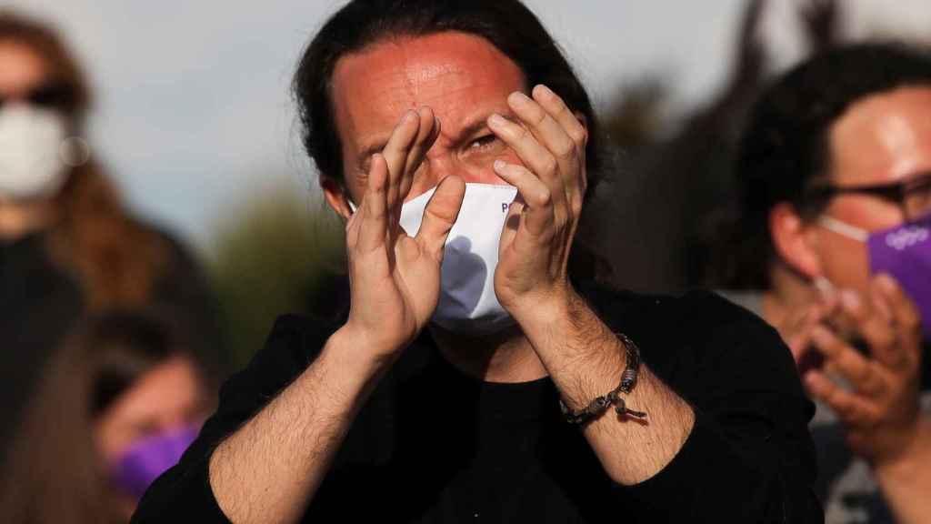 Pablo Iglesias, candidato de Unidas Podemos a la Comunidad de Madrid, en el mitin de cierre de campaña.