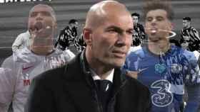 Youssef En-Nesyri, Zinedine Zidane, Mason Mount y los jugadores del Real Madrid en un fotomontaje