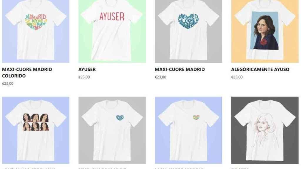 Imágenes de las camisetas de Ayuso.