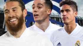 Sergio Ramos, Lucas Vázquez y Varane, en un fotomontaje