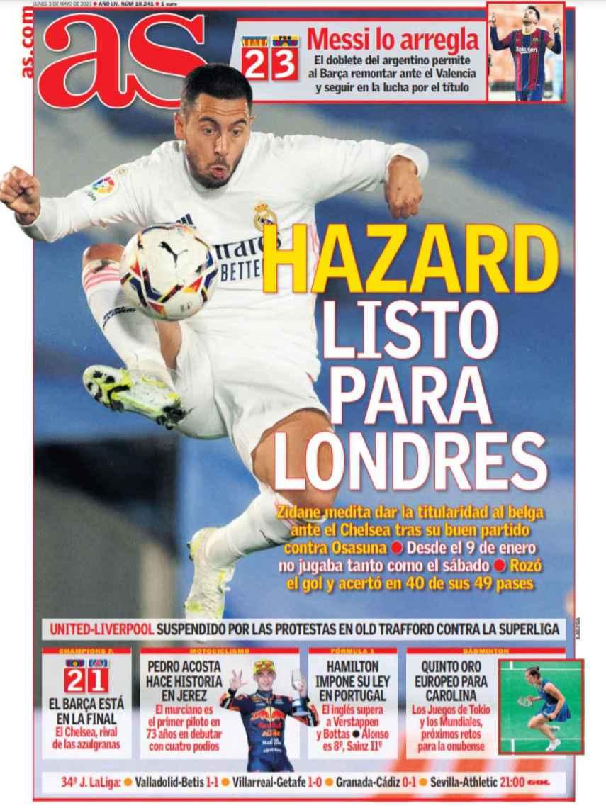 La portada del diario AS (03/05/2021)