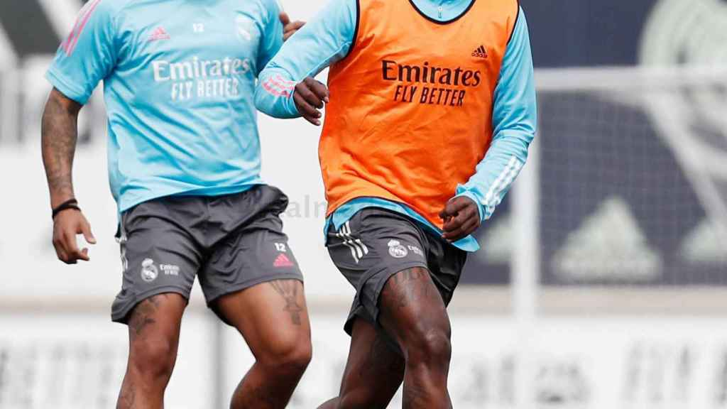 Marcelo y Vinicius Junior, durante un entrenamiento del Real Madrid