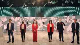 Los candidatos, durante el debate en televisión.