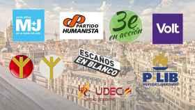 Logos de algunos de los partidos minoritarios presentados a las elecciones madrileñas del 4-M.