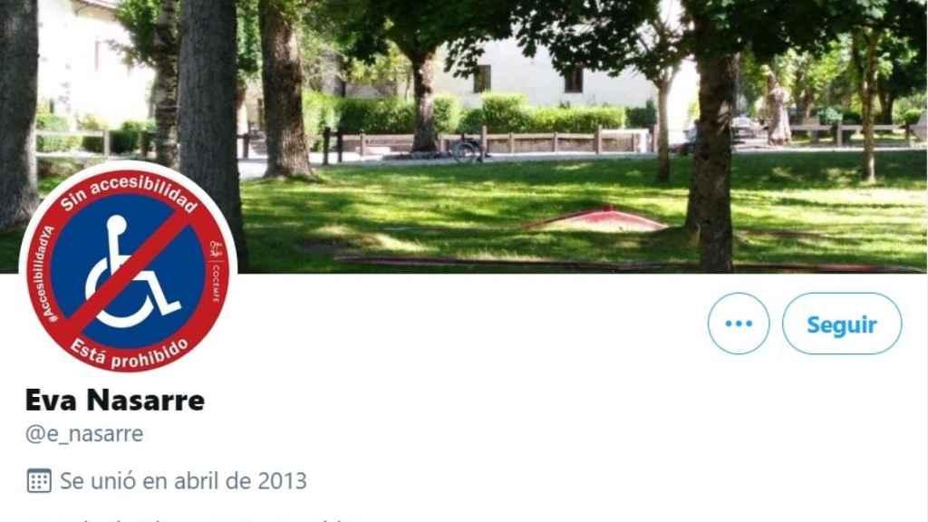 Imagen del perfil de Twitter de Eva Nasarre.