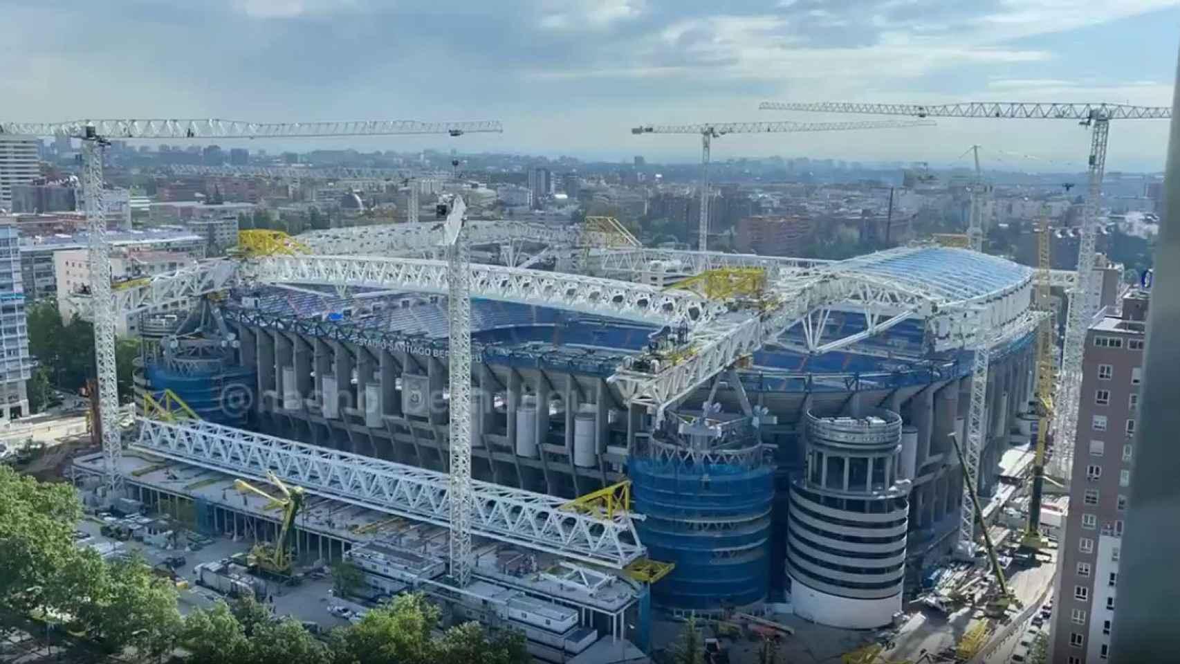 El estado del Estadio Santiago Bernabéu en el mes de mayo de 2021