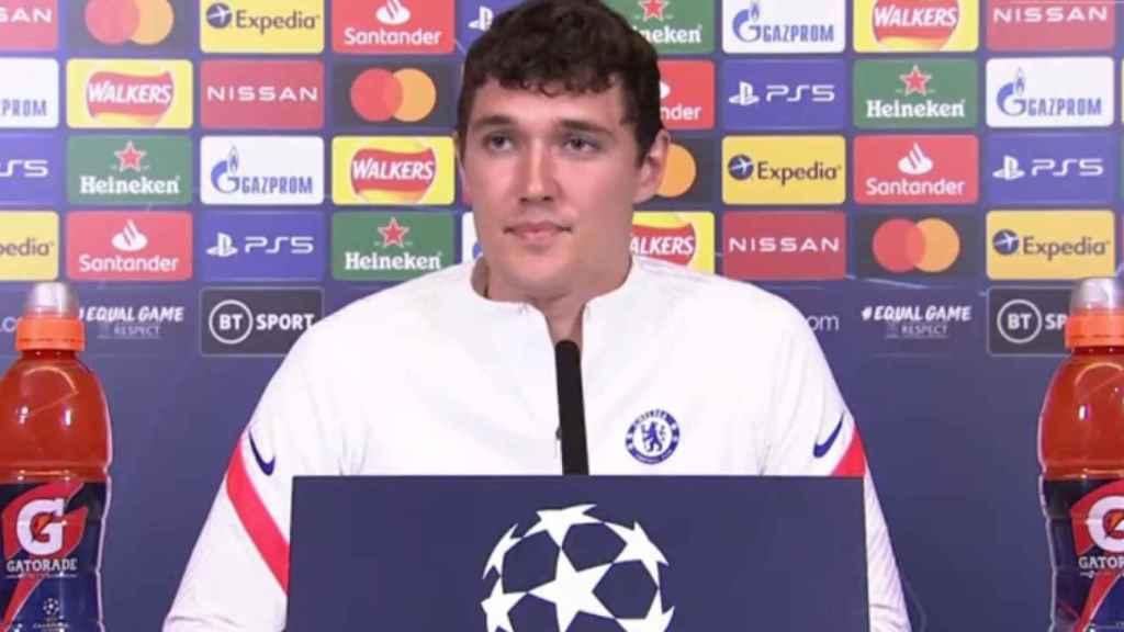 Andreas Christensen, durante la rueda de prensa