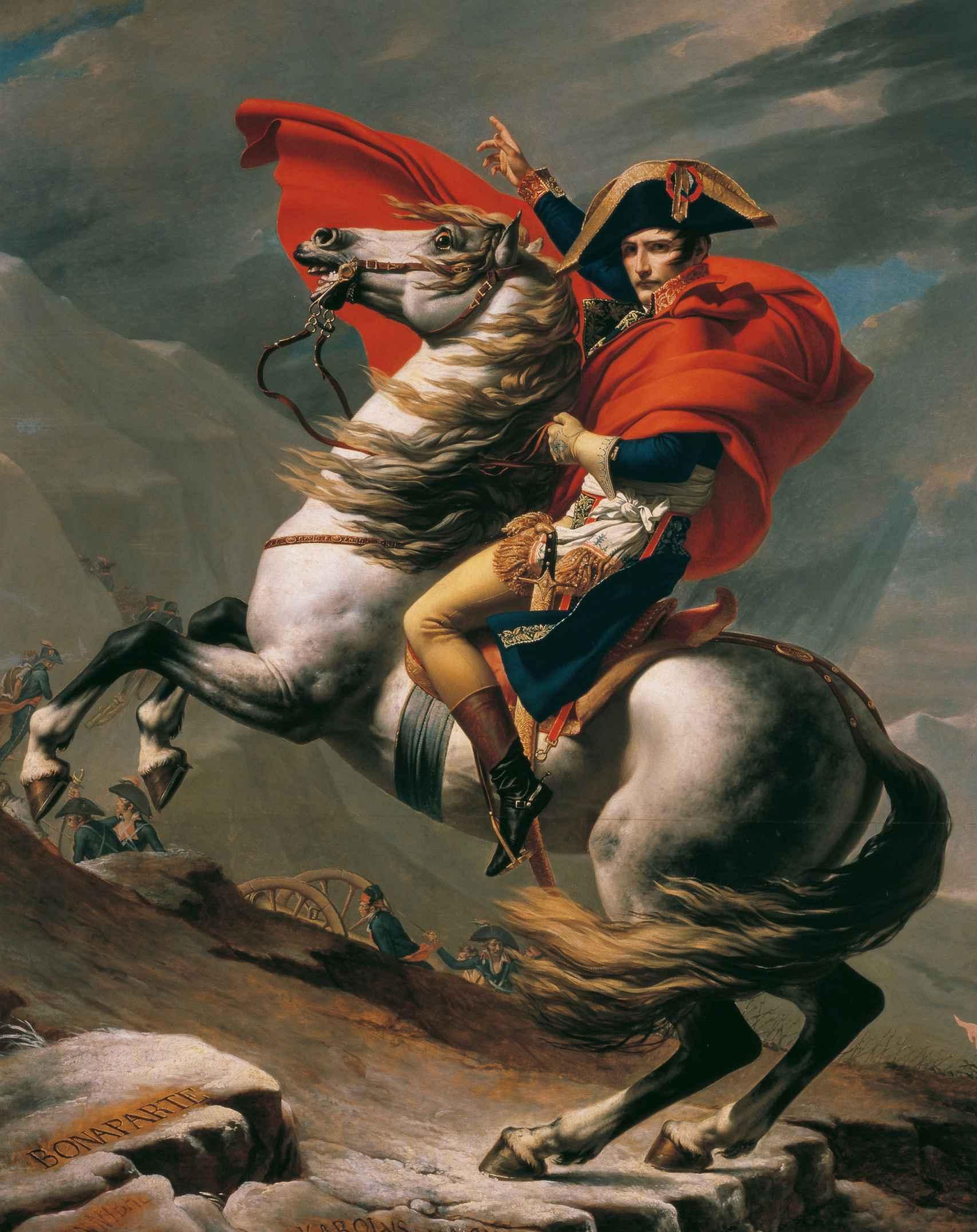 'Napoleón cruzando los Alpes', por Jacques-Louis David.