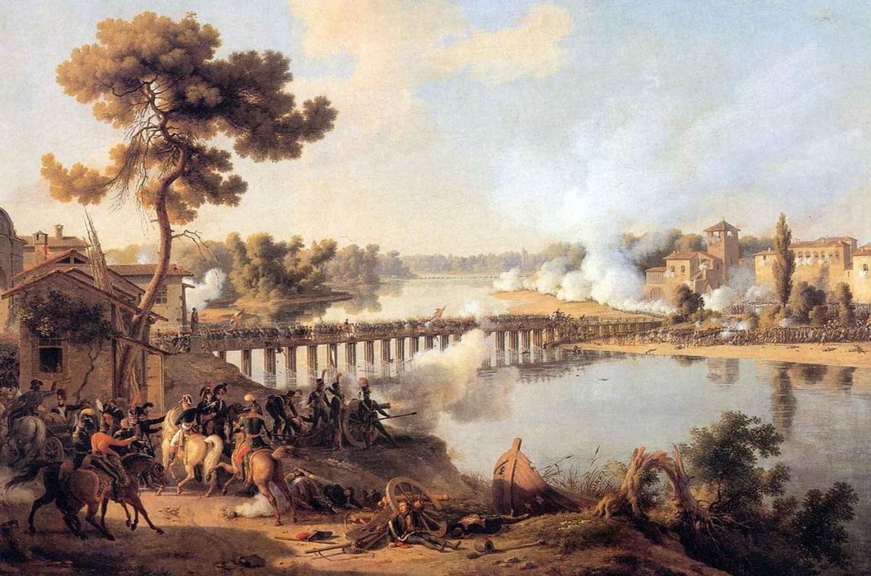 Lienzo sobre la batalla del puente de Lodi, la primera victoria significativa de la carrera de Napoleón.