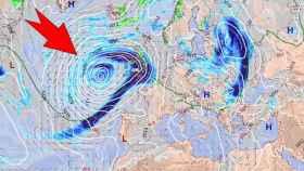 La profunda borrasca atlántica que aparecerá tras un proceso de ciclogénesis explosiva. METEORED